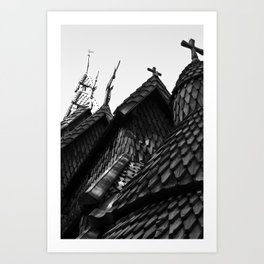 Chapel in the Hills black and white Art Print