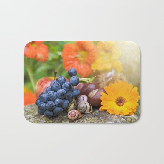 Lovely Autumn Fruits and Flowers in warm Sunlight Bath Mat