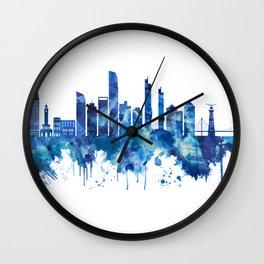 Izmir Turkey Skyline Blue Wall Clock