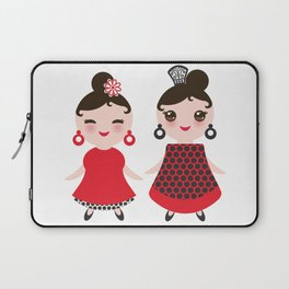 Spanish Woman flamenco dancer. Kawaii cute face with pink cheeks and winking eyes. Gipsy girl Laptop Sleeve