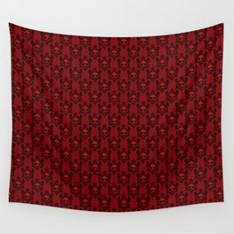 Halloween Damask Red Wall Tapestry
