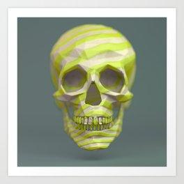 Yellow pop candy skull 3D render. Art Print