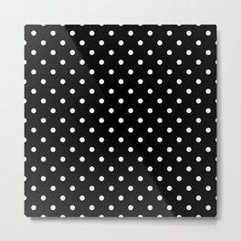 Licorice Black with White Polka Dots Metal Print