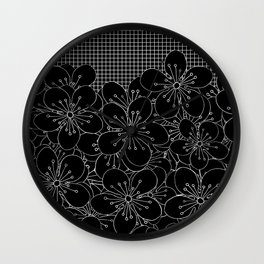Cherry Blossom Grid Black Wall Clock
