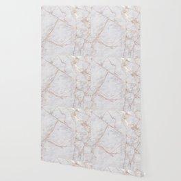 White Italian Marble & Gold Wallpaper