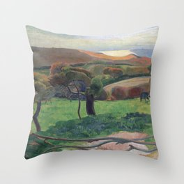 Landscape from Bretagne by Paul Gauguin Throw Pillow