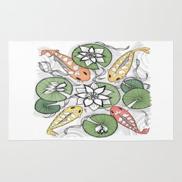 Koi Reunion - Zentangle Illustration Rug