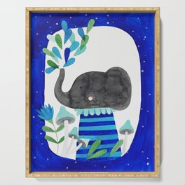 elephant with raindrops in blue watercolor illustration Serving Tray