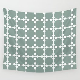 Droplets Pattern - White & Sage Green Wall Tapestry
