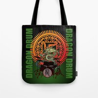 drum Tote Bags featuring Dragon drum by kuuma