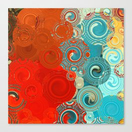 Red and Turquoise Swirls Canvas Print