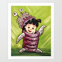 monster inc Art Prints featuring B00 Monster's Inc by MSG Imaging