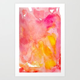 Pink and Orange Abstract Watercolor Painting Art Print
