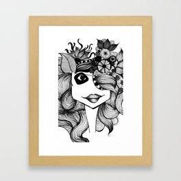 Doodling Girl illustration Framed Art Print