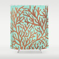 copper Shower Curtains featuring Copper Coral by Cat Coquillette