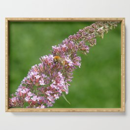 Pink flowers and bee Serving Tray