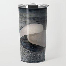 Two White Sea Glass Pieces on Grey Wood Travel Mug
