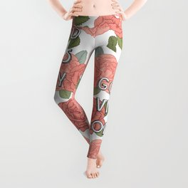 Good vibes only / calligraphy and floral illustration Leggings