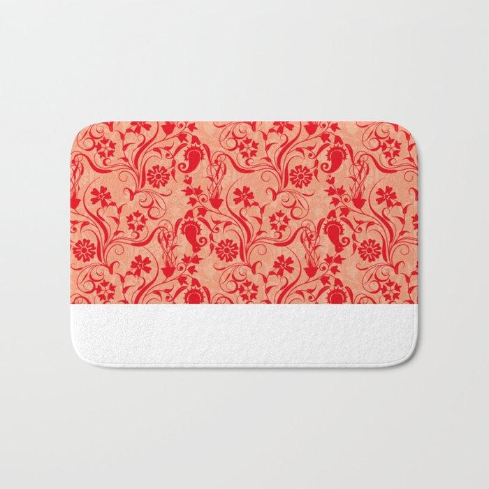 motif red flower 5 Bath Mat