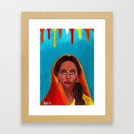 Holi Festival of Colors - Indian Girl Framed Art Print
