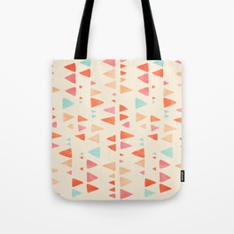 Back & Forth - triangle abstract pattern in peach, aqua & cream Tote Bag