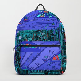 new york city panorama blue Backpack