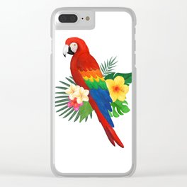 Tropical Macaw Floral Watercolor Clear iPhone Case