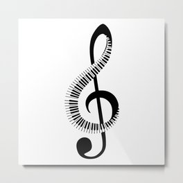 Treble clef sign with piano keyboard Metal Print