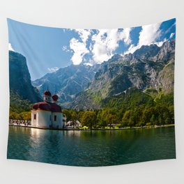 Outdoors, Church, Alps Mountains, Koenigssee Lake Wall Tapestry