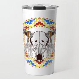 Cool Skull Shirt Of A Skull Of A Bull T-shirt Design Dream catcher Bones Horn Devil Tribal Wild Travel Mug