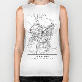 SANTIAGO DE CHILE BLACK CITY STREET MAP ART Biker Tank