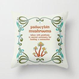Sacred Mushroom Medicine Throw Pillow