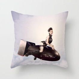 """Up and Atom"" - The Playful Pinup - Military Bomb Pin-up Girl by Maxwell H. Johnson Throw Pillow"