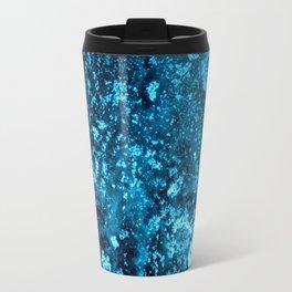 Dark Turquoise Abstract Ink Art Travel Mug