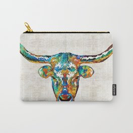 Colorful Longhorn Art By Sharon Cummings Carry-All Pouch