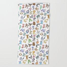Animal Alphabet Pattern Beach Towel