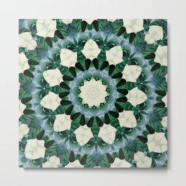 Sacramento Green and Cerulean Blue Mandala Metal Print