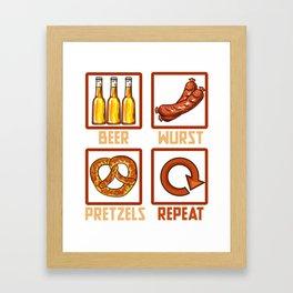 Beer Wurst Pretzels Repeat l Munich Oktoberfest design Framed Art Print
