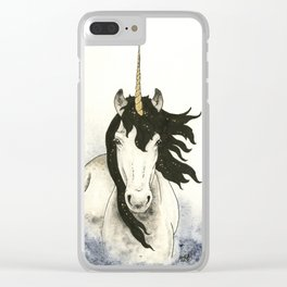 Unicorn in Blue Mist Clear iPhone Case