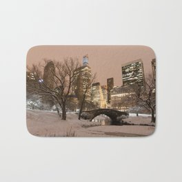 NYC - Gapstow Bridge, Central Park, Snow Bath Mat