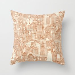 vintage halloween rust ivory Throw Pillow