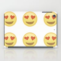 emoji iPad Cases featuring Emoji Love Eyes by Rhianna Power