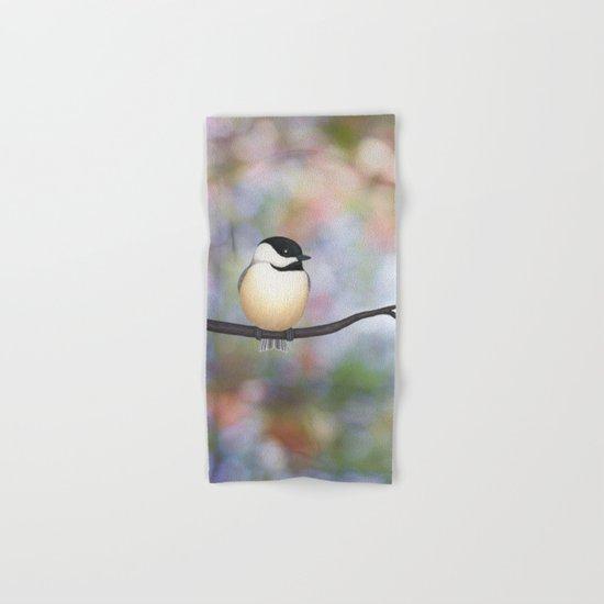 black capped chickadee on a branch Hand & Bath Towel