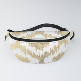 Modern white hand drawn ikat pattern faux gold Fanny Pack