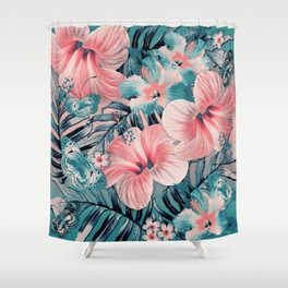 Vintage Jade Coral Aloha Shower Curtain