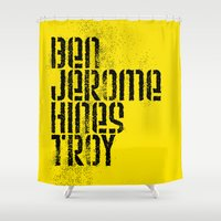 caleb troy Shower Curtains featuring Ben Jerome Hines Troy / Gold by Brian Walker