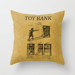 Toy Bank Patent 5 Throw Pillow