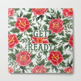 Get Ready - Vintage Floral Tattoo Collection Metal Print