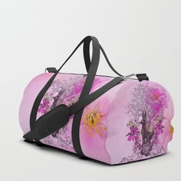 Funny easter bunny with flowers Duffle Bag