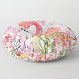 Flamingo in Tropical Flower Jungle Floor Pillow